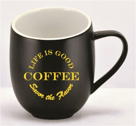 DCOF16BL-D  MUG BLACK 16 OZ - Custom Decoration 1 Color